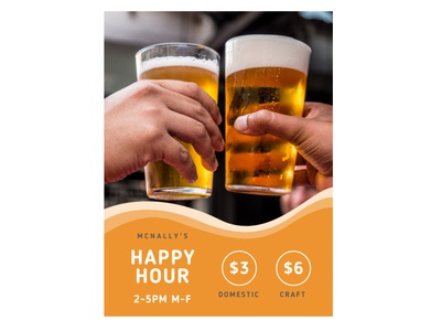 Happy Hour Poster grey orange brewery pub promotion bar poster beer