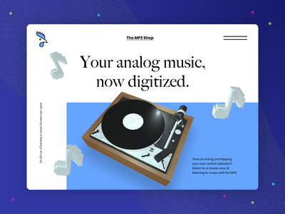 3D Challenge: Music website challenge workshop web design practice homepage design challenge cinema4d c4d 3d music vinyl toy record player