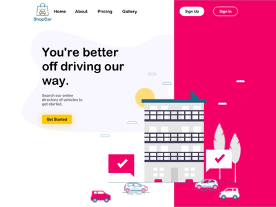 Car Rental Landing Page bootstrap grid system digital sketch imac mockup isometric process web illustration buttons ui daily rental landing page car design dailyui