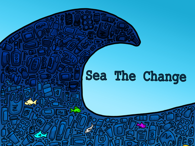 More plastic than Fish cartoon comic blue fish recycle reduce reuse plastic ocean