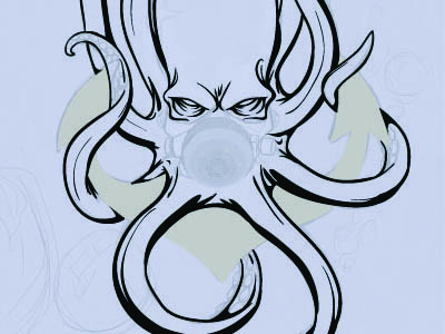 Kraken progress drawing inking illustrator sketch octopi anchor gaks