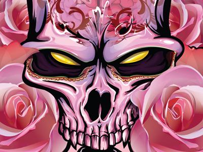 Undead Beauty illlustration vector gaks pink skull