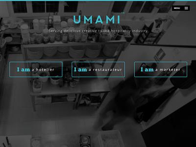 Umami Website Homepage digital development design branding website hospitality food drinks bars hotels restaurants homepage