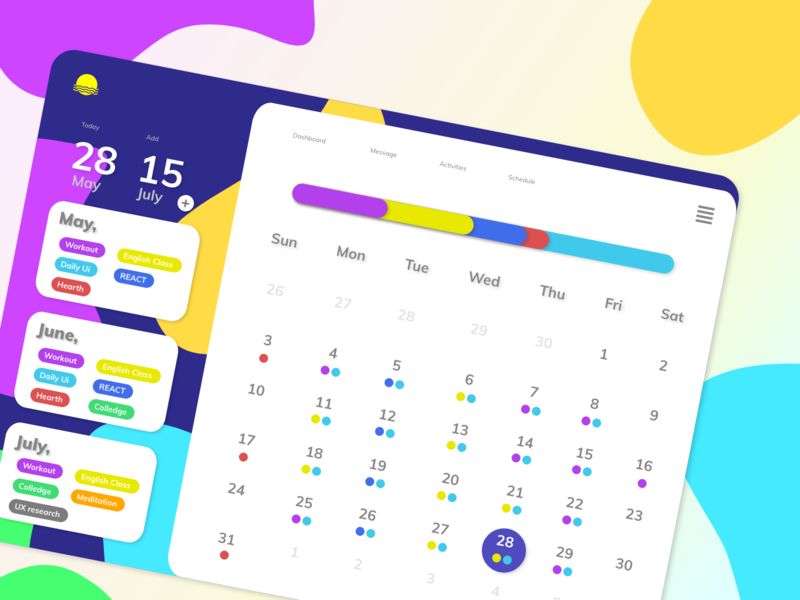 Daily UI :: 038 / Calendar calendar design calendar app calendar ui calendar dailyui038 branding icon web logo design uxuidesign ux uidesign ui dailyuichallenge dailyui