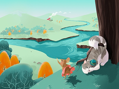 Kamishibai - page 02 illustration cat mouse landscape