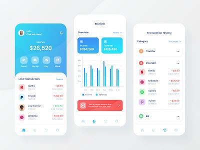 Finance App exploration design ui design ux ui android ios mobile app mobile money app money chart fintech wallet app wallet banking app finance app finance banking bank