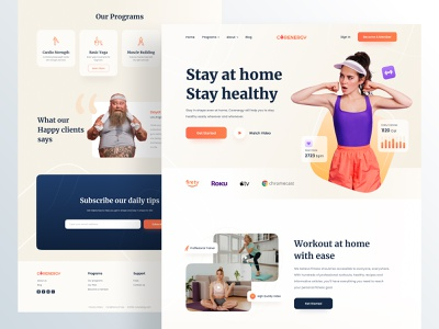 Corenergy Landing Page lifestyle coach fitness club bodybuilding homepage training weightloss yoga webdesign ux ui health fitness gym workout ux design ui design website landing page