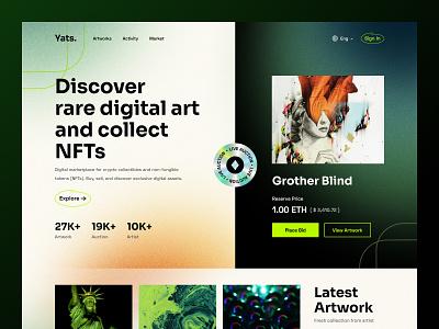 Yats. NFT Marketplace Website nfts token gradient dark web marketplace hero website design web design header website cryptoart cryptocurrency ux design exploration ui ui design