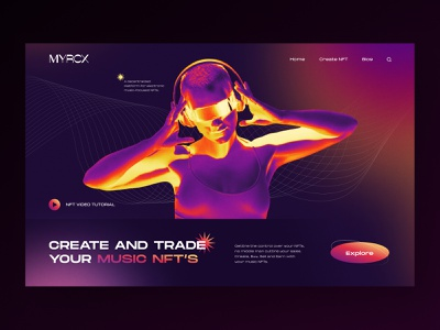 MYRCX Music NFT Marketplace Website exploration website ui design web website design header brutalism cryptoart crypto marketplace gradient token
