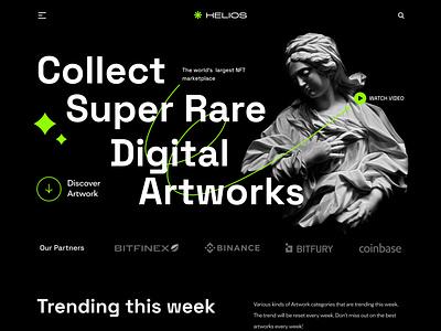 HELIOS NFT Marketplace Website landing page bitcoin nfts art cryptoart website web design web marketplace dark token nft cryptocurrency crypto ui ux ui design