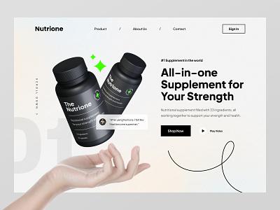 Nutrione Supplement Website workout web design ui design fitness gym health healthy supplement product hero website web landing page ux ui