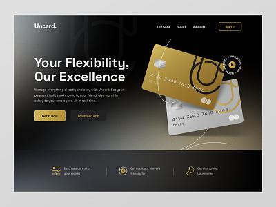 Uncard - Banking Website gold gradient dark landing page website credit card finance fintech payment bank banking web design hero ux design ui design web