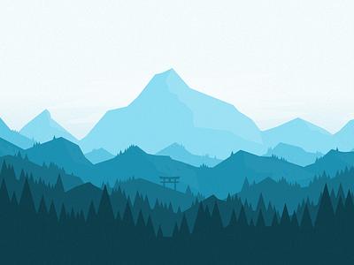 2D Landscape sketch3 palette color design flat ui landscape
