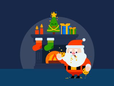 Santa Cookie Wallpaper holidays christmas wallpaper illustration design character santa