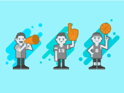 Baller characters graphic empty state mobile basketball sport app characters character design illustration