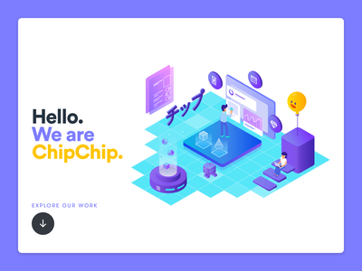ChipChip header illustration isometric header illustration studio ui ux designer portfolio website