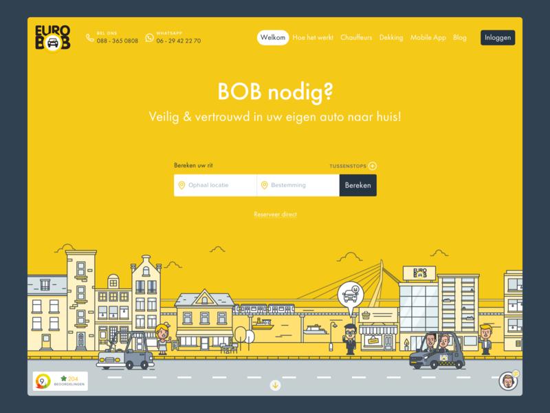 Euro BOB header illustration gouda utrecht amsterdam city rotterdam illustration mobile flat design icon design ui ux android iphone app