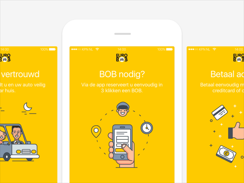 Euro BOB onboarding illustration mobile onboarding netherlands ui ux android iphone app