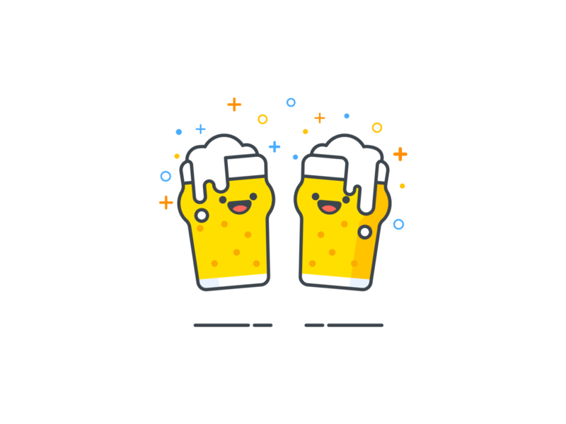 Beer time! 🍻 mobile kanpai proost cheers smiley waiting blank beer illustration flat design ui ux android iphone app