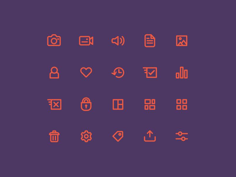 Woovtie digital asset management web app line icons icon design ui ux dashboard desktop application