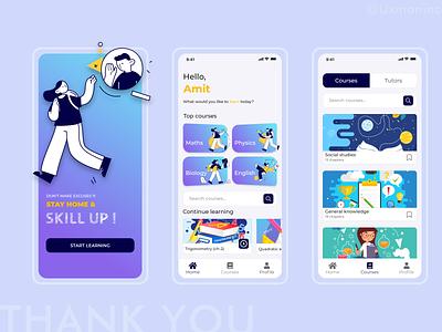 E Learning app concept - Amit Yogiraj typography minimal illustrations ui ux design art xd design uidesign ui  ux e learning learning app app design app