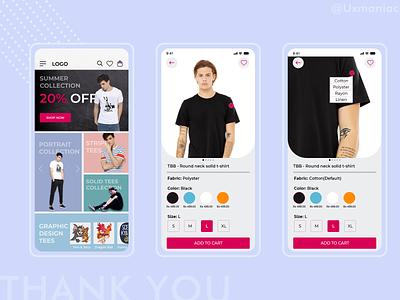 E com T shirt app dribble shot ui  ux uidesign logo illustrations typography minimal design ux ui t shirt ecommerce app app