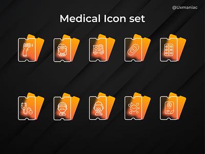 Medical icon set frost glassmorphism uidesign icons iconography branding design figma freebie icon pack medical icon icon set ux ui