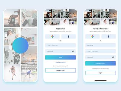 Mobile app concept for E-learning login signup elegant minimal learning app dailyui uidesign cool best app earn learn udemy tiktok design concept app design ui ux e learning