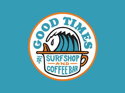 GOOD TIMES Logo brand lettering logo illustration coffeebar surfshop