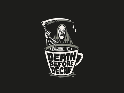 Death before Decaf handlettering typography horror decaf death comic coffee illustration