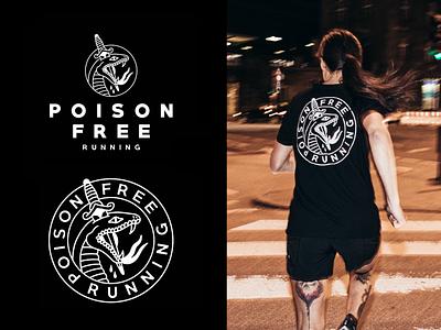 Poison Free Running willpower running batch logo illustration