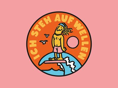 i like waves logo patch drawing illustration surfer waves surf badge