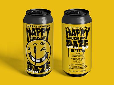 HAPPY FUCKIN' DAZE 2.0 beer label badge design logo vintage drawing sketch illustration