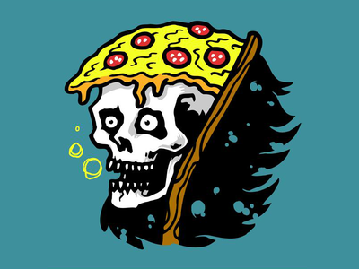 pizza reaper pizza reaper fresh death summer nomnom pizzadeath funny sketch illustration drawing