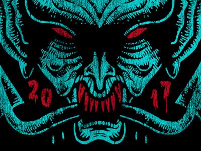 devils head fresh open air rock vintage devil horror doodle drawing sketch illustration