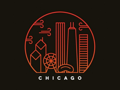 simple chicago windy city illustration skyline chicago vector simple
