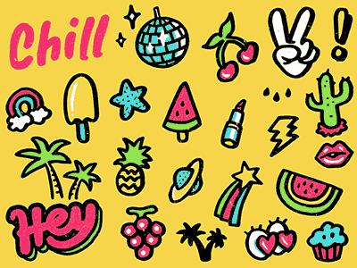 summer set pattern 80s vintage hippie chill icon summer doodle drawing sketch illustration