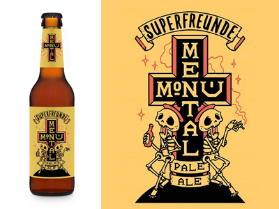 monumental pale ale skulls beer superfreunde pale ale label brand drawing sketch illustration