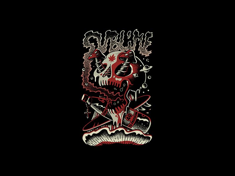 drippy surf skull sublime illustration