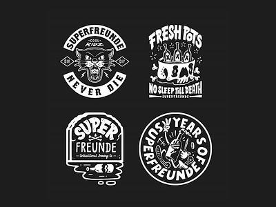 Superfreunde never die! craftbeer logo icon badge illustration superfreunde