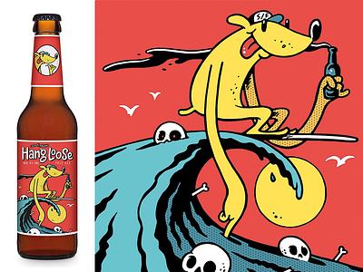Superfreunde - Hang Loose comic craftbeer surf superfreunde beer label illustration