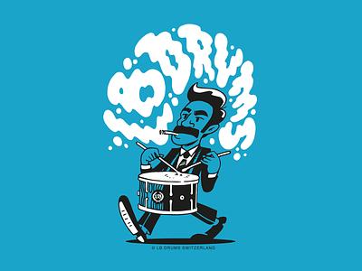 fancy drummer lettering lbdrums logo vintage doodle fresh drawing sketch illustration