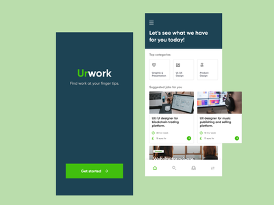 Mobile App for Urwork ui logo illustration concept branding design branding agency app design minimal design dashboard design urban ladder work application work app work