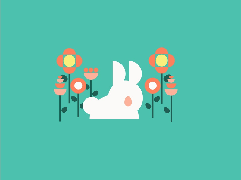 Hop hop rabbit clean teal geometric flowers easter bunny illustration design vector kansas city