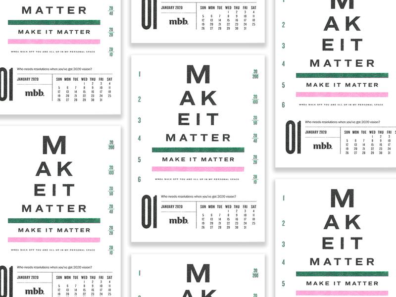 2020 Vision Calendar - January kansascity eyechart chart vision eye risograph calendar typography vector kansas city