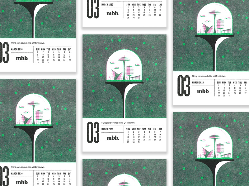 2020 Vision Calendar - March retrofuturism retro space pink green riso jetsons spaceage future calendar risograph typography illustration design vector kansas city