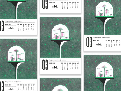 2020 Vision Calendar - March retrofuturism retro space pink green riso jetsons spaceage future calendar risograph typography illustration design vector kansas city
