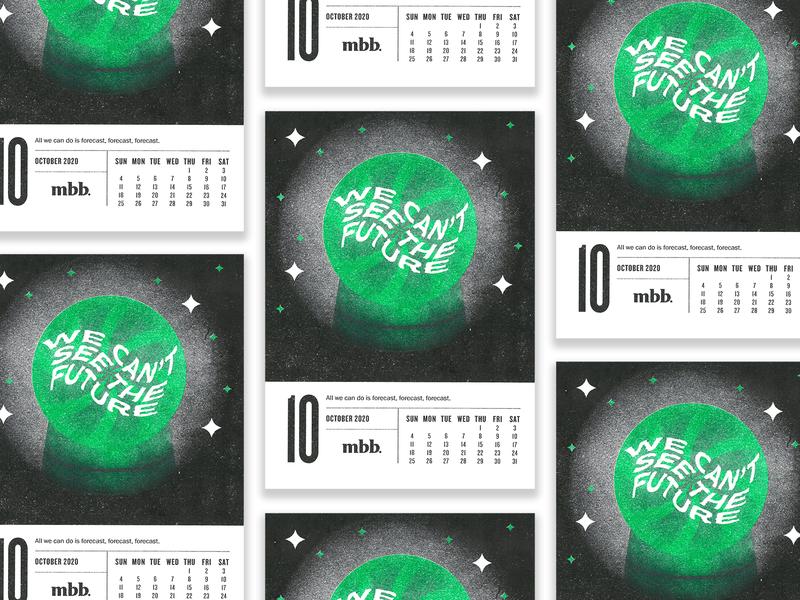 2020 Vision Calendar - October risoprint risograph gradient october calendar design calendar spooky crystal ball 2020 green illustration design vector kansas city