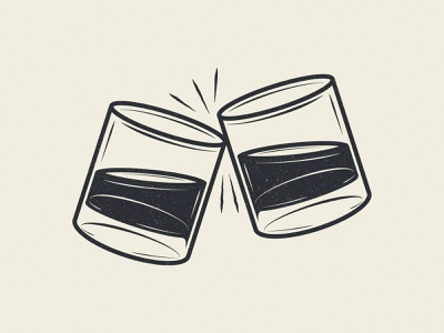 """""""Clink"""" alcohol drinking bar glassware clink neat glasses whiskey cheers illustration design vector kansas city"""