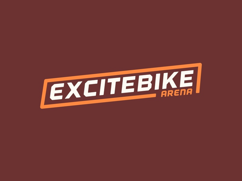 Excitebike brand nintendo mariokart brown orange badge logo branding typography design vector kansas city